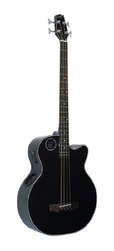 Boulder Creek Guitars EBR1-B4 4-Strings Acoustic-Electric Bass Guitar, Gloss Black Finish >>> Want additional info? Click on the image.