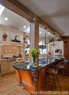Home improvement idea in the kitchen - Debbiedoo's. #fauxwoodbeams