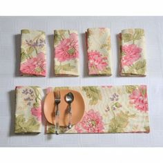 Swayam Floral Cream, Pink & Green Printed Dinner Napkins Set of Six Pieces