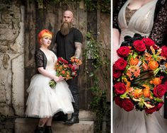 Alternative wedding bouquet hand tied with black red and orange colours.  silver Gothic biker details - Luxury and unique wedding flowers designed just for you. From bridal flowers to ceremony and reception, we offer a bespoke service for your perfect day.