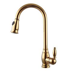 KES Kitchen Faucet Pulldown Spray Single Handle Traditional Style Single Hole Bar Sink Water Mixer Tap with Pull Down Sprayer Swivel High Arc Gooseneck Spout, Titanium Gold, L6933-4