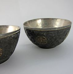 Antique Chinese Hand Carved Coconut Cups Lined with by MinniesFlea, $234.00