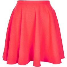 TOPSHOP Fluro Pink Skater Skirt (€27) ❤ liked on Polyvore featuring skirts, bottoms, saias, faldas, flur pink, red circle skirt, topshop skirt, red skirt, pink skater skirt and circle skirt
