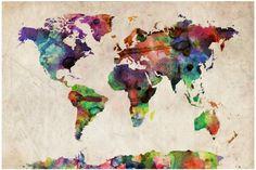 Carte du monde Aquarel