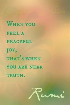 """""""When you feel a peaceful joy, that's when you are near truth."""" ~~Rumi ★… """"When you feel a peaceful joy, that's when you are near truth. Rumi Quotes, Motivational Quotes, Life Quotes, Inspirational Quotes, Friend Quotes, Happy Quotes, Quotes Quotes, The Words, Rumi Love"""