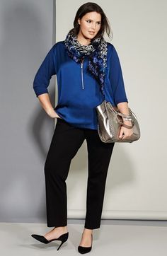 Vince Camuto Mixed Media Tunic Top & Trousers (Plus Size)  available at #Nordstrom