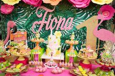 Dessert table from a Tropical Flamingo Paradise Birthday Party on Kara's Party Ideas   KarasPartyIdeas.com (10)