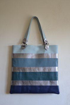leather stripes tote bag p/e 2014