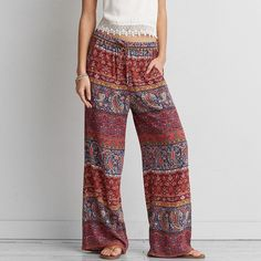 AEO Wide Leg Soft Pants ($30) ❤ liked on Polyvore featuring pants, orange, gauze pants, patterned pants, elastic waistband pants, pattern wide leg pants and boho pants