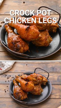 Crock Pot Chicken Legs are such an easy dinner recipe the entire family will love! The chicken drumsticks are fall of the bone tender with a delicious rub and they are basted with BBQ sauce and broiled for a sticky sweet deliciousness. Such a quick and easy crock pot recipe to enjoy for a quick dinner.