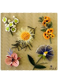 Quilled flowers from Botanical Quilling Japan by galadrael