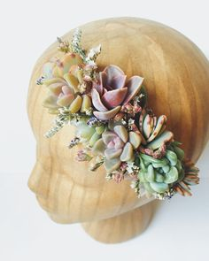 Succulent Bridal Halo // Succulent Crown // Purple and by Eucca