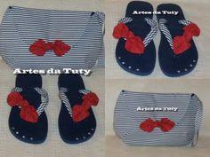 bolsa e chinelo customizado kit de chinelo e bolsa tecido chinelo botão flor customização