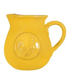 Loving this Canary Yellow Rooster Large Pitcher on #zulily! #zulilyfinds