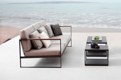 The casual cool of Swedish design has been captured in this three seater sofa, a modern take on traditional garden sets. Sophistication is exuded from the slim lines and evident form of the minimalist structure and cool grey colour scheme of the sofa. Outdoor Sofa, Outdoor Living Furniture, Balcony Furniture, Simple Furniture, Minimalist Furniture, Smart Furniture, Outdoor Seating, Furniture Design, Garden Sofa Set