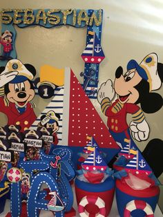 Mickey Mouse sailor captain nautical Birthday decorations ice cooler