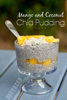 Low Fat Mango and Coconut Chia Pudding - Healthy, Gluten Free, Vegan