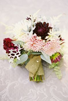 Brides: Rustic Dahlia Wedding Bouquet. Wedding bouquet of dahlias, dusty miller, astilbe, and seeded eucalyptus by Janie Medley Flora Design
