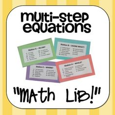 This is a super fun activity to practice solving multi-step equations!  Students generate pieces to a story through their solutions to the cards at each station.  My students LOVE this activity! $