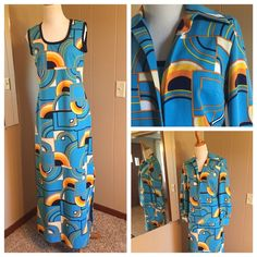 WOW Vintage Kay Windsor 60's-70's maxi Wow what a find! Great vintage polyester fabric! Awesome print! Great to wear with or without the jacket! Just love this. Size small, some stretch. New condition! Vintage Dresses Maxi