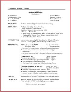 Accounting Student Resume Sample