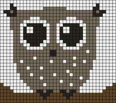 owl beading chart can be cross stitche