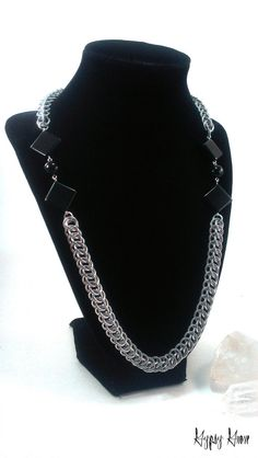 Half Persian Chunky Chainmaille Necklace with Black by GypsyGrove, $25.00