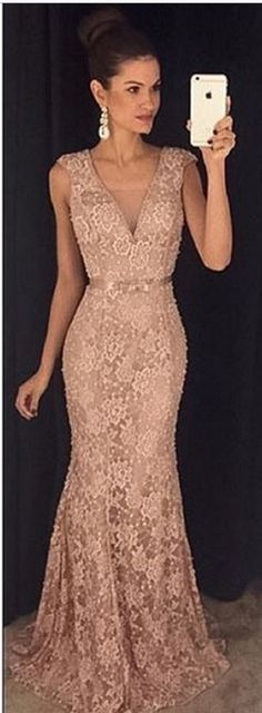 #brown #lace #Vneck #prom #party #evening #dress #dresses #gowns #cocktaildress…