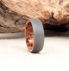 Sandblasted Titanium Ring Lined with Black Ash Burl Wood