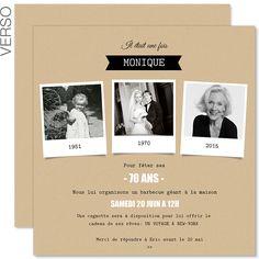 Originale ♥ l'invitation d'anniversaire 70 ans ♥ créée et imprimée à pris reduits sur Carteland et enveloppes offertes.