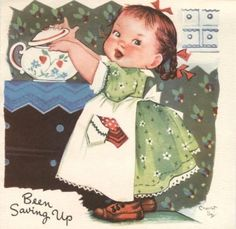 Charlot Byj Vintage Birthday Greeting Card Little Girl In Apron Unused Vintage Birthday Cards, Vintage Christmas Cards, Birthday Greeting Cards, Vintage Cards, Birthday Greetings, Vintage Postcards, Vintage Labels, Images Vintage, Vintage Artwork