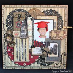 Graphic 45 Communique collection vintage scrapbook layout