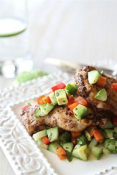 Spicy Chicken Thigh Recipe with Cucumber Avocado Salsa