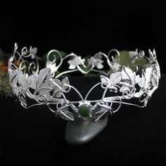 Mystic Queen Ivy Crown. A wondrous and elegant headpiece crown with ornate, intricate, hand-forged intertwining vines of ivy leaves throughout and this is made in the style of a crown, a fully enclosed headpiece.