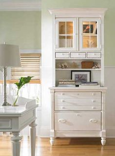love this little secretary! Would be great on the living room wall by the door. Gorgeous Stanley Furniture has some gorgeous cabinetry and bookcases in solid white wood. These are some that we think would work great with this design: Shelter Island Lateral File--