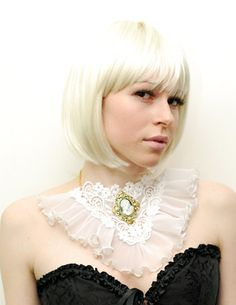 Steampunk victorian collar lace ruffle cameo bib necklace. $42.90, via Etsy.