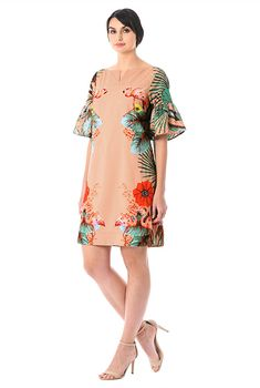 I <3 this Beaded flamingo floral print crepe shift dress from eShakti