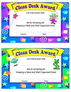 Click the image above to download the Clean Desk Award.