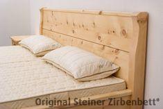 Zirbenbett Rotwand Doppelbett Massivholzbett Diy Wooden Projects, Wooden Diy, Home Projects, Wood Bed Design, Sofa, Wood Beds, Bed Pillows, Pillow Cases, House