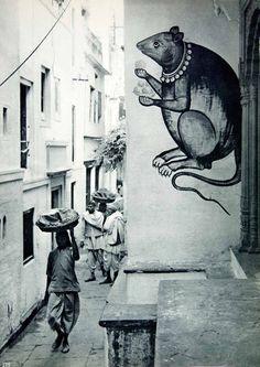 Narrow street, Varanasi, India, 1950s