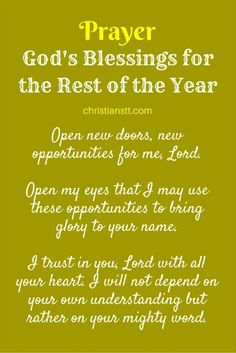 Prayer - God's Blessings for the Rest of the Year