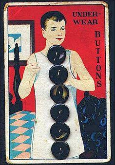 vintage button card, mens underwear buttons