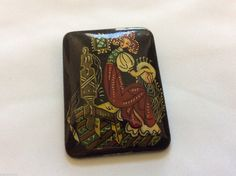 Vintage Russian Hand Painted Fairy Tale Design Black Glass Pin Brooch - Russian