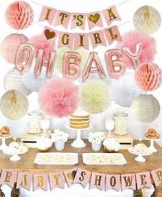 Girls Baby Shower Party Decorations It's A Girl Baby Shower Decorations Kit with Oh Baby Foil Balloons It's A Girl Banner Tissue Paper Pompoms Lanterns Honeycomb Balls: Toys & Games Baby Shower Balloon Decorations, Party Decoration, Baby Shower Balloons, Baby Shower Parties, Baby Shower Themes, Shower Party, Shower Ideas, Girl Decor, Baby Decor