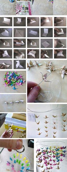 Móvil con pajaritas de papel