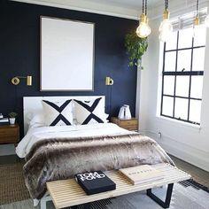 Dark Blue Bedroom Walls, Blue Accent Walls, Blue Bedroom Decor, Accent Wall Bedroom, Bedroom Green, Bedroom Colors, Blue Feature Wall Bedroom, Black Walls, Bedroom Black