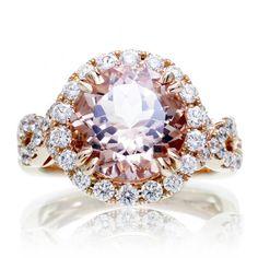 Round morganite engagement ring diamond halo twist infinity band 10mm rose gold