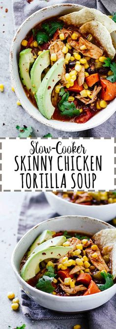 Slow Cooker Skinny Chicken Tortilla Soup! Gluten-free and dairy-free. Perfect for an easy and healthy weeknight meal!