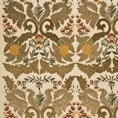 Spectacular embroidery sage/gold decorating fabric by Mulberry Home. Item FD689.S118.0. Free shipping on Mulberry Home products. Always first quality. Over 100,000 luxury patterns and colors. Width 51.22 inches. Swatches available.