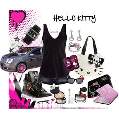 """=HELLO KITTY="" by hotlikefiyah on Polyvore"